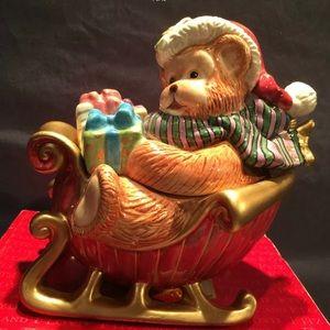 Fitz and Floyd Christmas Sleigh Candy Dish Jar
